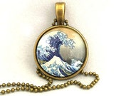 10% SALE Necklace Copper,  The Great Wave Of Kanagawa, Hokusai Art Pendant Necklaces Gift