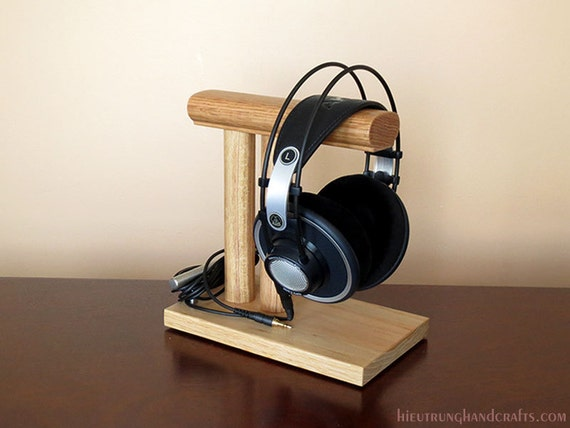 Items similar to Desktop Wooden Headphone Stand on Etsy