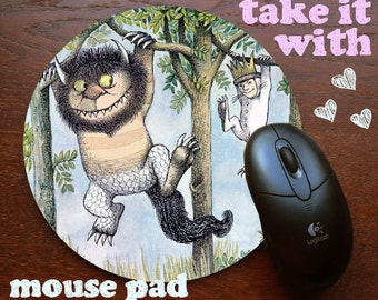 Max hanging out with Moishe Where the Wild Things Are Mouse Pad favorite book Sendak Mousepad for your computer on your desk in yo office
