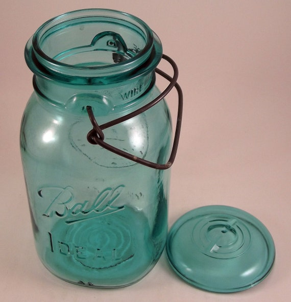 Vintage Blue Ball Ideal Bicentennial Quart Canning Jar Wire Bail with Glass Lid