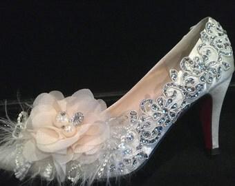 Cinderella crystal ivory satin  bridal wedding heels,bridesmaid shoes (BS96618)