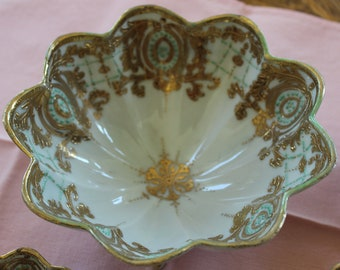 Antique Nippon Porcelain Nut Set, 5 pcs., moriage, gold trimmed, teal blue, turquoise