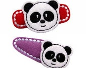 NO Slip Felt Hair Clips- PANDA BEARS