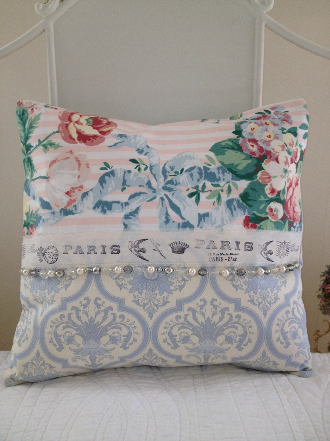 French Country Pillow Cover Sham Shabby Chic Pillow Cover