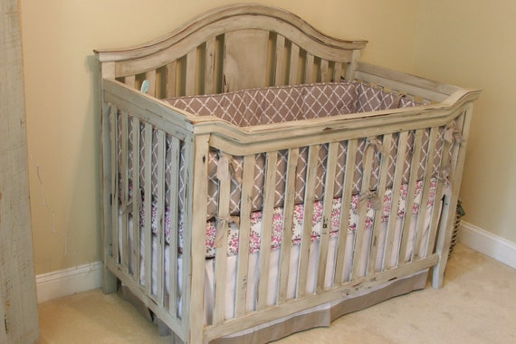 vintage look baby crib and dresser