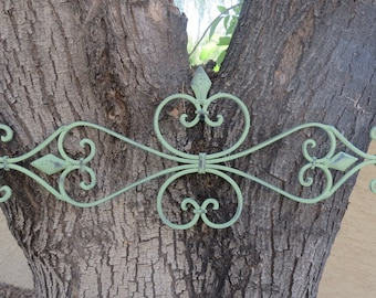 Fleur de Lis Metal Wall Decor / Scrolled Wrought Iron Wall Art / Indoor Outdoor Wall Hanging / Sage Green or Pick Color / Shabby Chic Decor