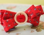 Red Apple Hair Bow - Clip or Headband - Newborn to Adult - Ready To Ship - Handmade