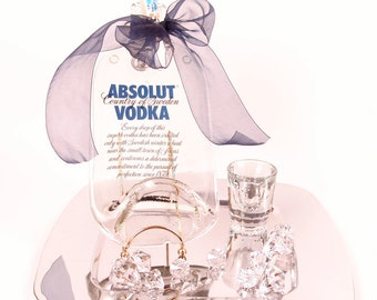 Absolut Vodka Flattened Liquor Bottle - Cheese & Cracker Tray w/ Spreader / Bar and Wall Decor / Melted / Slumped / Fused / Upcycled