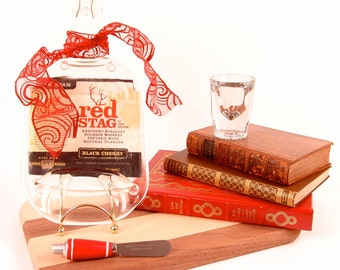 Red Stag Bottle - Cheese & Cracker Tray w/ Spreader / Bar and Wall Decor / Melted / Slumped / Fused / Upcycled
