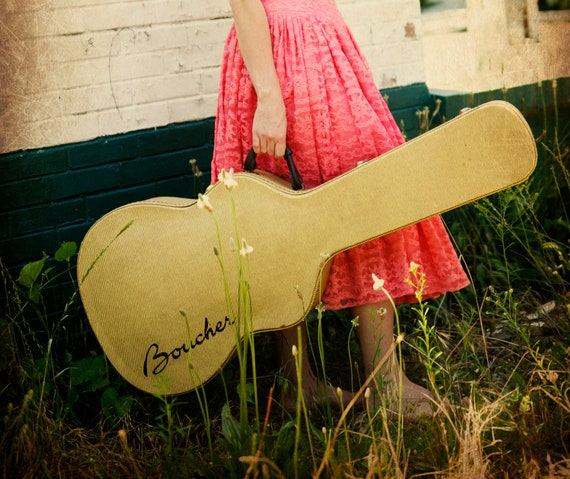 Fine Art Photography- Guitar - Home Decor- Color Photograph- Vintage Art- Nashville- Pink Dress-Art Print- Tennessee