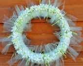 Wreath Pale Green Tulle with Ribbons, Silk Flowers and Rhinestone Buttons