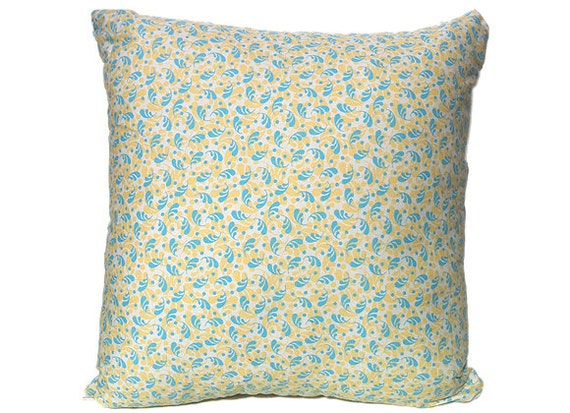 Yellow And Blue Floral Motif Design Cushion Cover/pillow Will