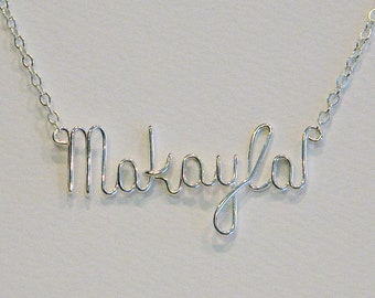 Sterling Silver Wire Name Personalized Necklace