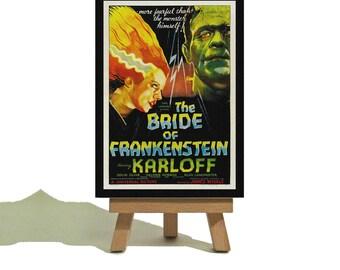 Bride of Frankenstein 1935 - Vintage Style Miniature Canvas and Easel Set.
