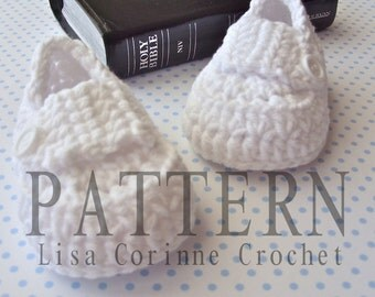 Christening Shoes PATTERN, Baby Boy Baptism Shoes, Baby Booties Crochet Pattern, Baby Loafers, Crochet Baby Booties