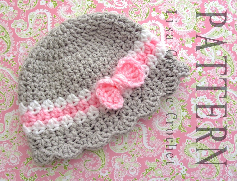 Crochet Pattern Newborn Girl Hat : Baby Hat Crochet PATTERN Baby Girl Hats PATTERN Crochet Bow