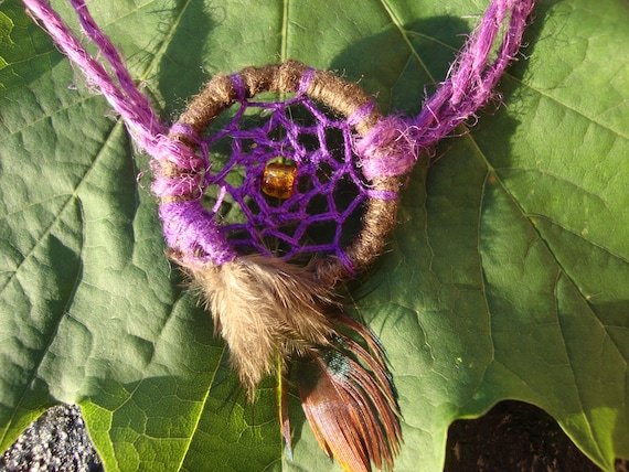 Pansy purple hemp dreamcathcher adjustable bracelet with feather- Boho,hippie women's jewelry