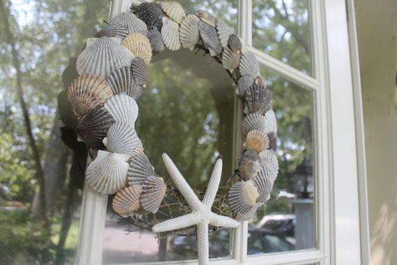 Scallop Shell Wreath, Starfish Wreath, Cottage Wreath, SALE