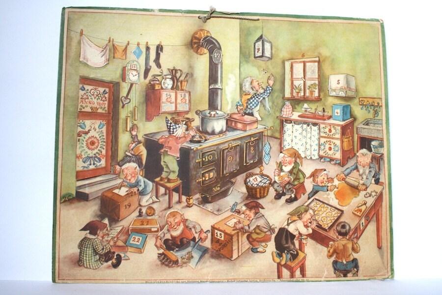 advent calendar vintage german 1940s marianne schneegans. Black Bedroom Furniture Sets. Home Design Ideas