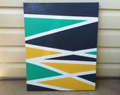 Abstract acrylic painted canvas yellow, grey and sea green