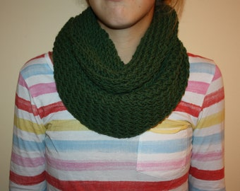 Hand knit forrest green infinity/circle scarf