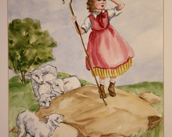 Little Bo Peep (classic children's nursery rhyme painted in watercolor)