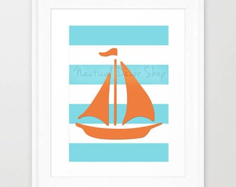 Instant Download Anchor Print, Nautical Print, Sailboat Wall Art, Nautical Nursery, Sail Boat Downloadable Nursery Decor
