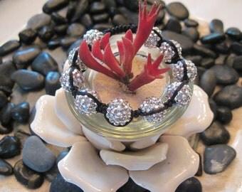 Shambala Bracelet Silver Rhinestones with black cord.