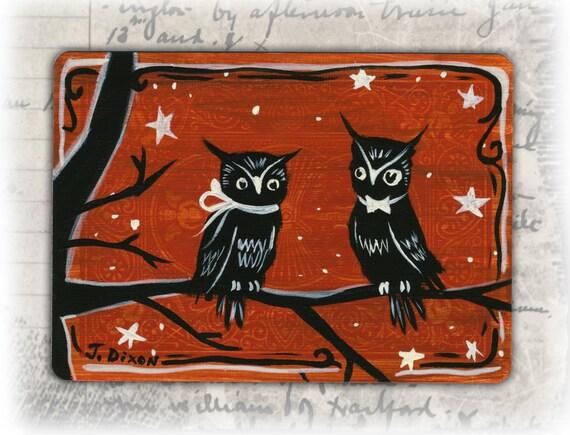Vintage Halloween Inspired Mini Owl Painting