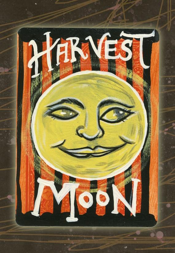 Vintage Halloween Inspired Mini Harvest Moon Painting