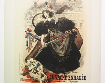 """SOLD Roedel, Maitres de L'Affiche Poster, 1899, Plate No.179. French poster for the publication of """"The Mad Cow"""", Paris."""