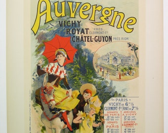 Jules Cheret Original Maitres de L'Affiche Poster, France 1899, Plate No.173. Travel Poster for P.L.M. Railroad service to Auvergne.