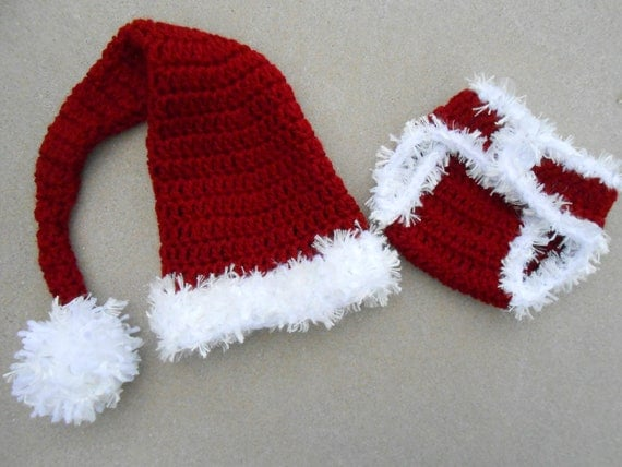 Crochet Baby Christmas Santa Elf Type Hat and Diaper Cover Set