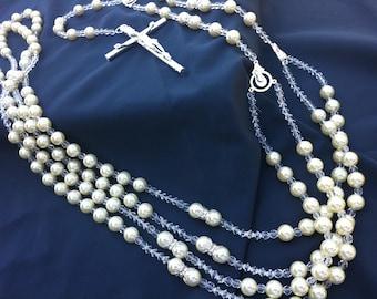 ivory crystal pearls wedding lassolasso de bodas en perlas de crystal lazo para