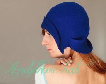 Vintage style hat Handmade blue cloche felt hat royal blue hat