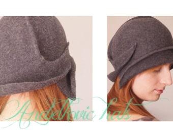 Grey felt cloche vintage style handmade hat Women 1920s style