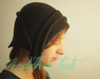 Hat Winter handmade brown felt hat cloche hat vintage style
