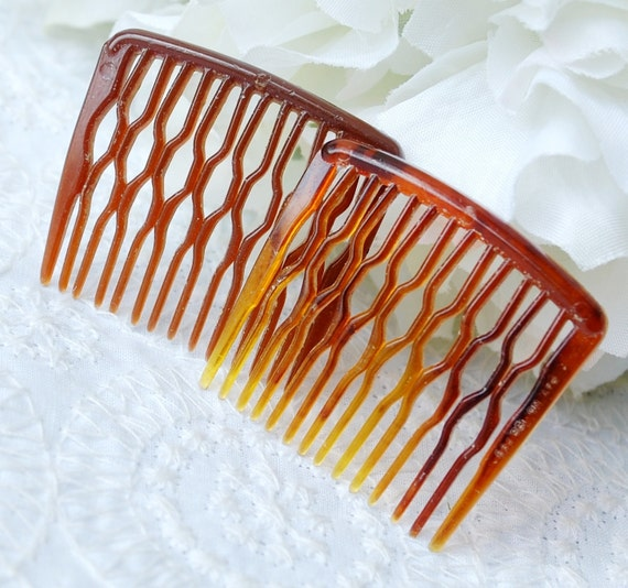 Vintage Hair Comb Set, Tortoise Shell Lucite, Brown Tortoiseshell, 1950s 1960s Mid Century Mad Men, Summer Fall Accessory Jewelry