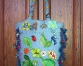 Felted tote purse blue with flowers