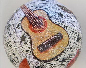 Holiday Ornament - Guitar-music collaged recycled glass ball