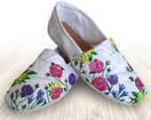 """Custom Painted """"Garden Party"""" Toms Shoes with Roses and Flowers"""