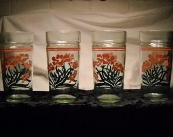 "Vintage ""Gladiola"" Drinking Glasses(4)"