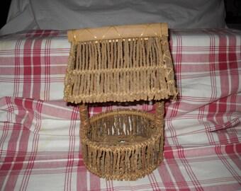"""Vintage """"Well"""" Twig Basket/Planter"""