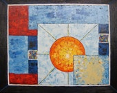 """Abstract Original Oil Painting of the Sun with Blue Red Yellow Contemporary Wall Decor Ready to Hang Art by Glorianna 16"""" x 20"""""""