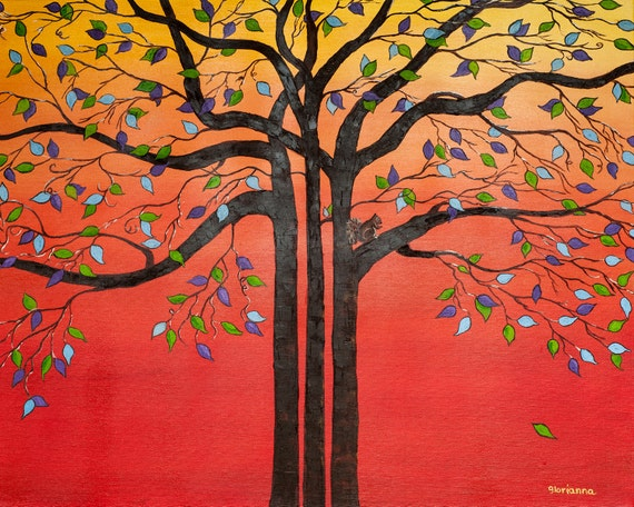 "Tree  of Life Original Oil Painting Autumn Landscape Squirrel Red Orange  Large Painting Abstract Canvas Painting 30"" x 24"""