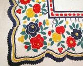 Festive 1950s Linen Tablecloth Fruits Flora Big Red Bows