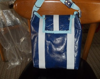 Blue/Gray handmade leather purse
