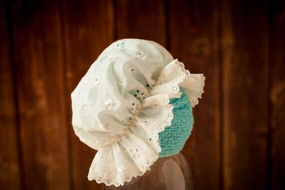 Newborn Photography Prop dainty white newborn bonnet