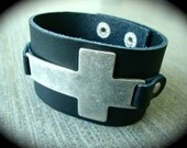 Oversized Stainless Steel Cross Leather Cuff