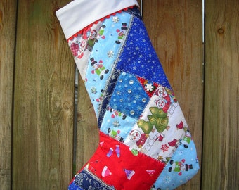 OOAK Crazy Qulted christmas stocking-free shipping in North America